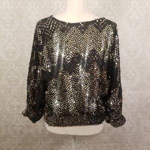 Black Gold/Silver Sequin Top